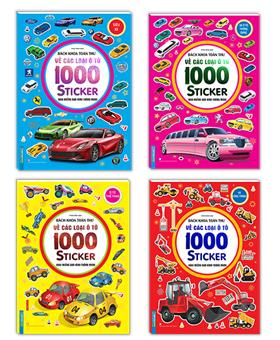Combo bách khoa toàn thư về các loại ô tô - 1000 miếng dán hình thông minh(trọn bộ 4 cuốn)